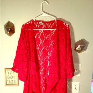 Red, Lacy Lularoe Kimono with fringe